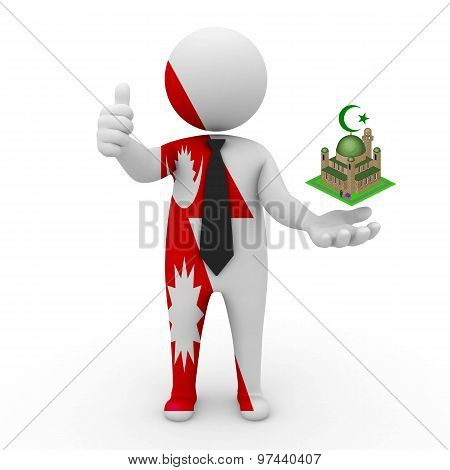 3d businessman people Nepal - Muslim mosque and Islam in Nepal