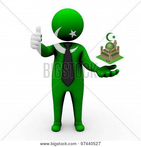 3d businessman people Pakistan - Muslim mosque and Islam in Pakistan