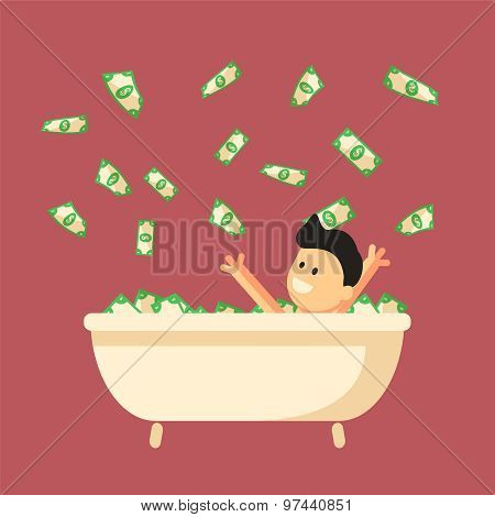 Bath Full Of Money With Happy Man In It.