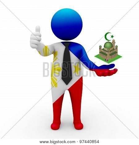 3d businessman people Philippines - Muslim mosque and Islam in Philippines