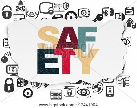 Safety concept: Safety on Torn Paper background