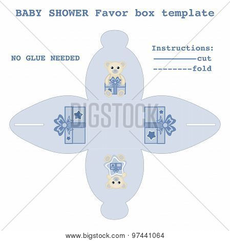 Newborn baby boy gift box pattern vector illustration Baby shower favor box template