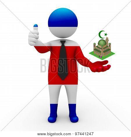 3d businessman people Costa Rica - Muslim mosque and Islam in Costa Rica