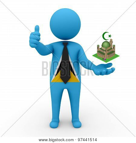 3d businessman people St. Lucia - Muslim mosque and Islam in St. Lucia