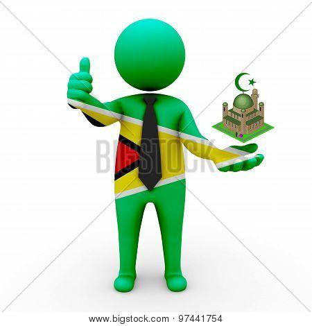 3d businessman people Guyana - Muslim mosque and Islam in Guyana