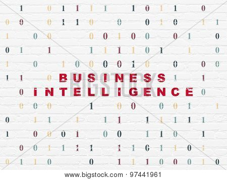 Finance concept: Business Intelligence on wall background