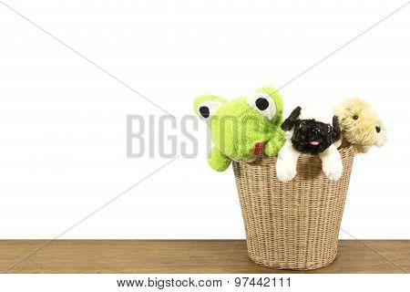 Animal Dolls In Basket