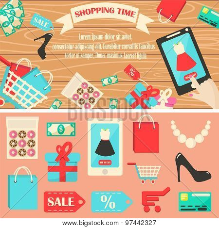 Shopping Time Vector Illustration.