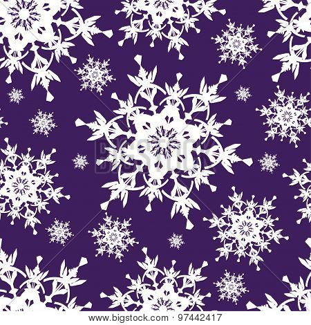 Beautiful Dark Blue Seamless Pattern With Snowflakes