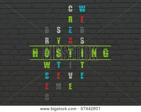 Web development concept: word Hosting in Crossword Puzzle
