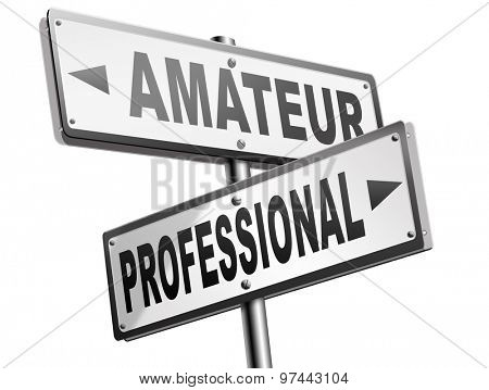 professional amateur craftsman expert novice or beginner skilled specialist or recruit and rookie road sign arrow craftsmanship