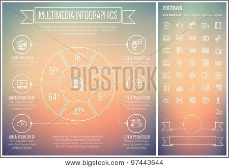 Multimedia infographic template and elements. The template includes the following set of icons - turntable, shutter, speaker, video camera, cassette recorder and more. Modern minimalistic flat thin