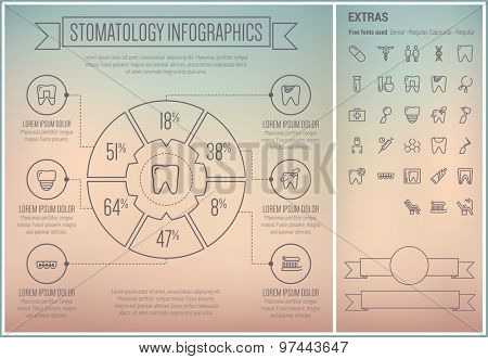 Stomatology infographic template and elements. The template includes the following set of icons - toothpaste, toothbrush, medicine, first aid kit, healthcare, tube and more. Modern minimalistic flat
