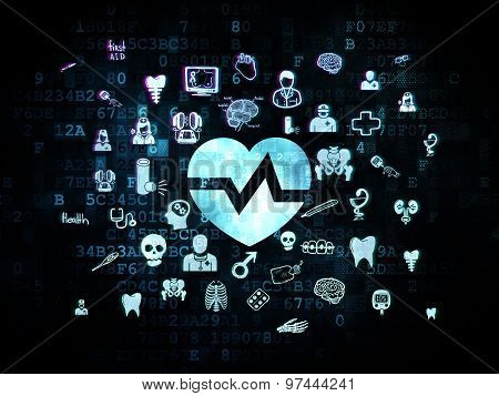 Healthcare concept: Heart on Digital background