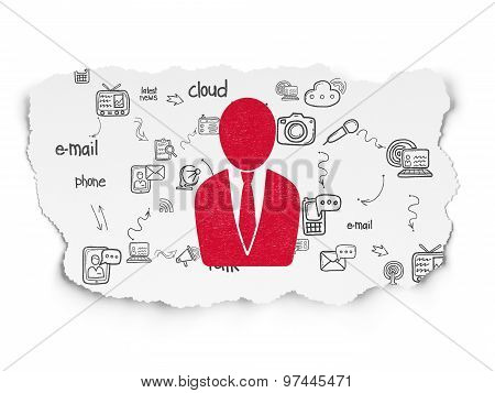 News concept: Business Man on Torn Paper background
