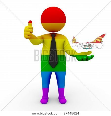 3d businessman people LGBT - with a map of the flag of Prince Edward Island