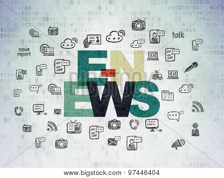 News concept: E-news on Digital Paper background
