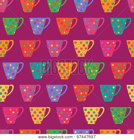 Bright Seamless Pattern With Cups In Polka Dot