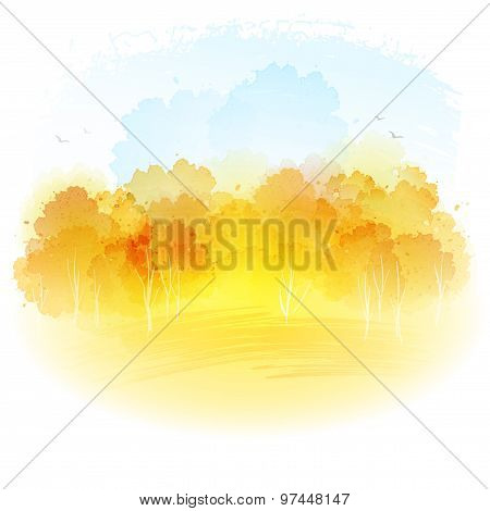 Watercolor autumn landscape. Vector illustration