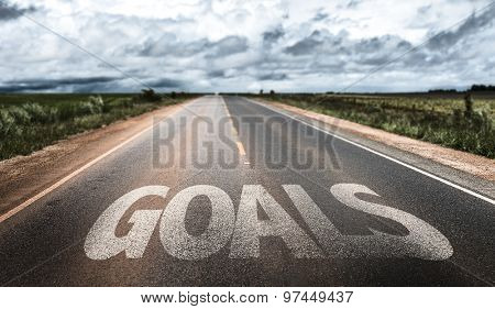 Goals written on rural road