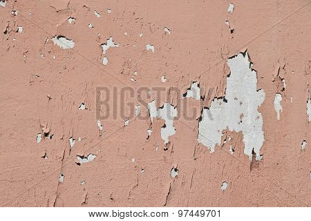 Vintage Flakes Of Old Pink Paint Over Grey Concrete Wall
