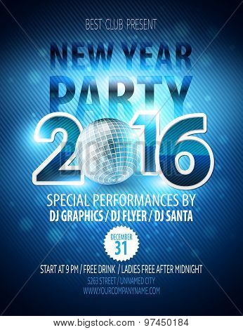 Happy New Year party poster. Vector template