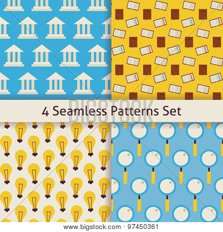 Four Vector Flat Seamless Knowledge School Search And Idea Lamp Patterns Set