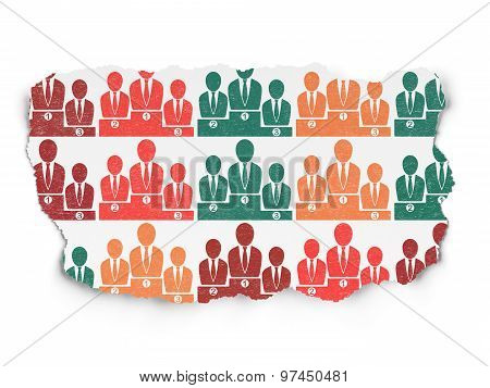Law concept: Business Team icons on Torn Paper background