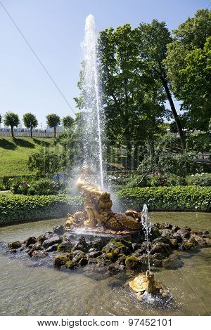 Tourists Admire Greenhouse Fountain With A Sculpture Of Triton, Peterhof