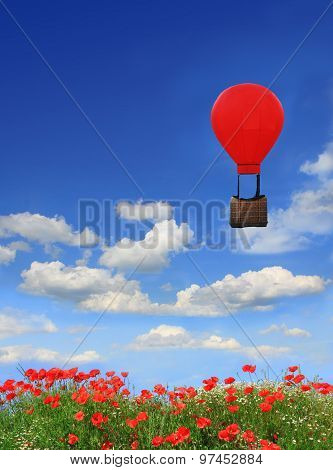 Beautyful Red Poppy Field And Blue Sky, Floating Hot-air Balloon