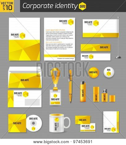 Corporate identity business photorealistic design template. Classic yellow stationery template desig