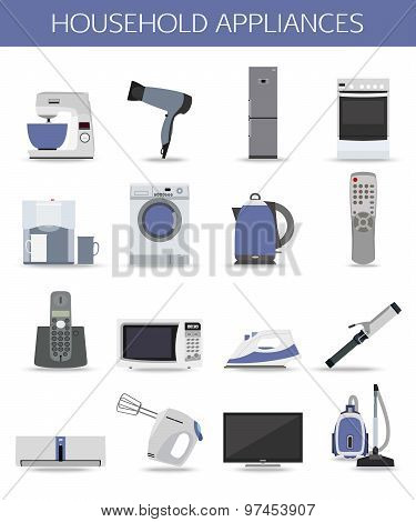 Set of household appliances and electronic devices isolated icons.