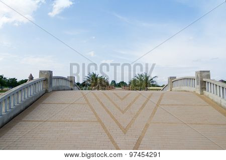 Walkway On The Bridge In The Park.