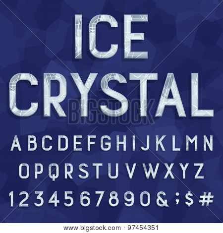 Crystal ice type font. Vector Alphabet.