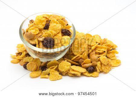 Fresh homemade of honey caramel cornflakes on white background