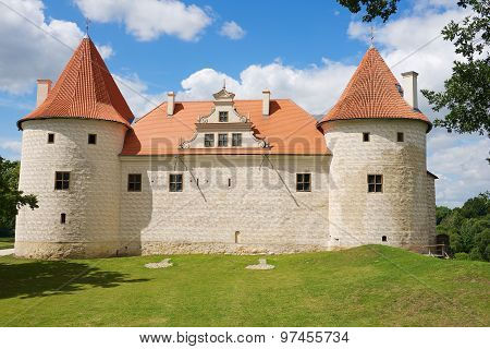 Exterior of the Bauska castle in Bauska, Latvia.