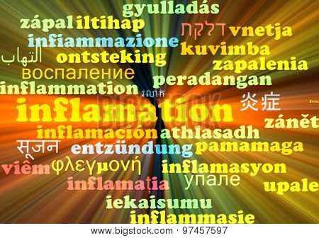 Background concept wordcloud multilanguage international many language illustration of inflamation glowing light
