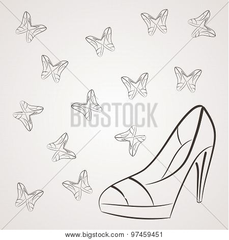 Vector monochrome background with filigree butterflies of women's shoes with high heels.
