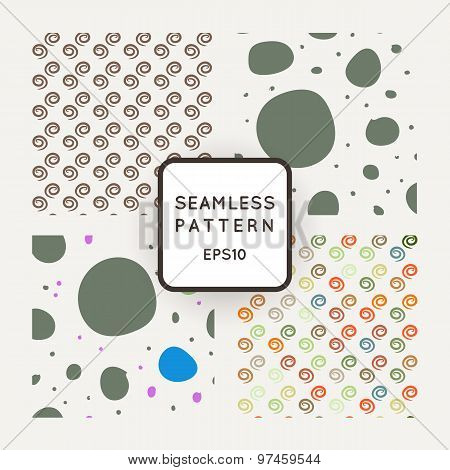 A set of four vector seamless patterns. Spirals. Pebbles. Paving.