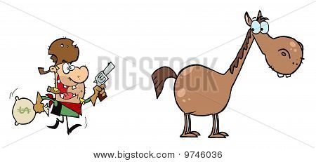 Outlaw Cowboy Escapes To His Horse