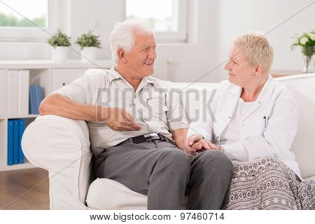 Old Male Having Professional Care