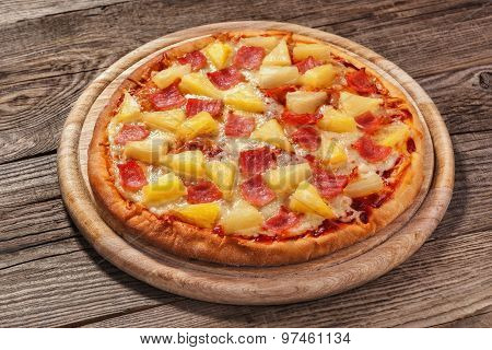 Hawaiian Pizza On The Old Board