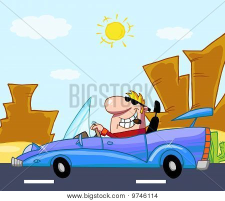 Man Driving His Convertible Car On A Desert Road