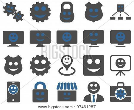 Tools, gears, smiles, dilspays icons.