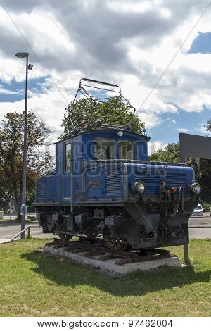 Munich, Germany - July 30, 2015: The Bayerische Zugspitzbahn (Bavarian Zugspitze Railway) is located in the alps and the locomotives with a metre gauge run daily from Garmisch to the Zugspitze the locomotives are manufactured by AEG and are exposed in Mun