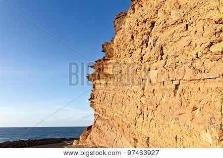 Rock In Lanzarote With Blue Sky