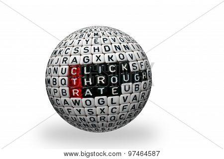 Ctr Click Trough Rate Black 3D Ball