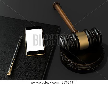 Wooden Judges Gavel And Phone On Black Table