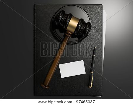 Wooden Judges Gavel And Leather Folder On Black Table