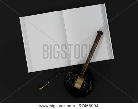Wooden Judicial Gavel And Open Book Black Table